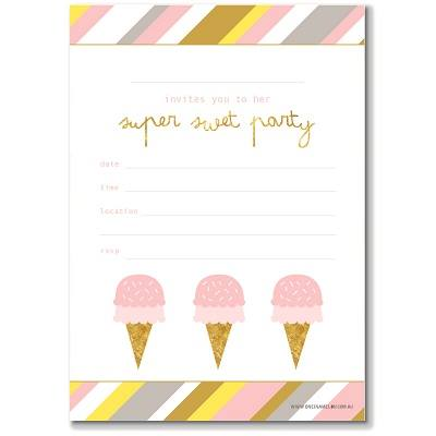 Ice Cream Invitation - Ruby Rabbit Partyware