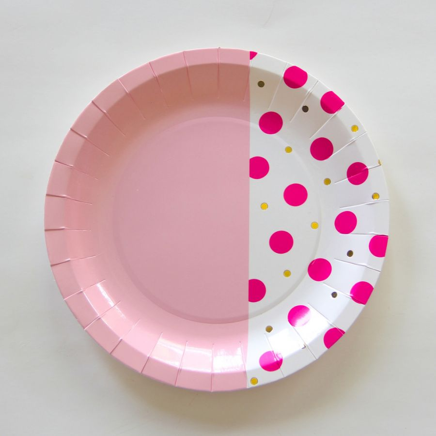 Pink dot plates  - Favor Lane