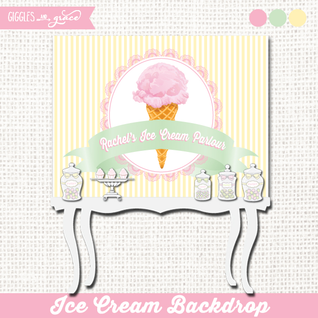 Vintage ice cream printable backdrop - Giggles and Grace Designs