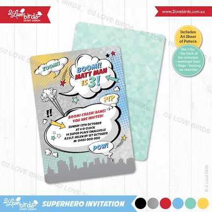 Superhero invitation with matching backdrop and printables - 2 Love Birds