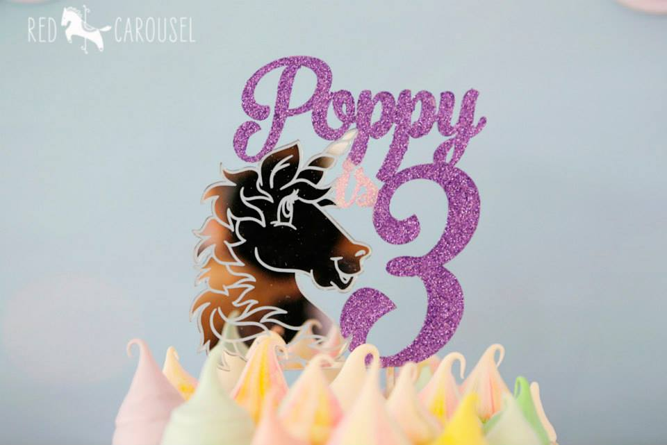 Unicorn cake topper - Glistening Occasions (Cake by Red Carousel)