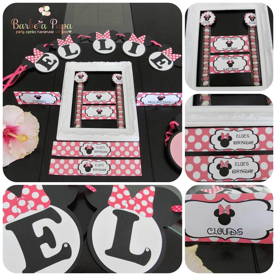 Printed Minnie Mouse party pack (bunting, favour tubes, chocolate bars etc) - Barbe a Papa