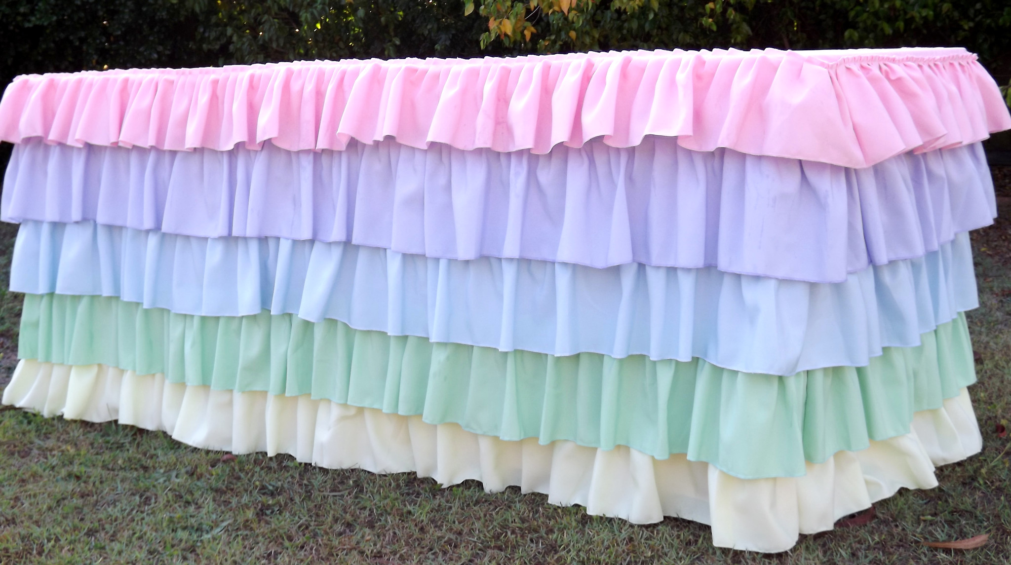 Pastel ruffled tablecloth -Saffy and May