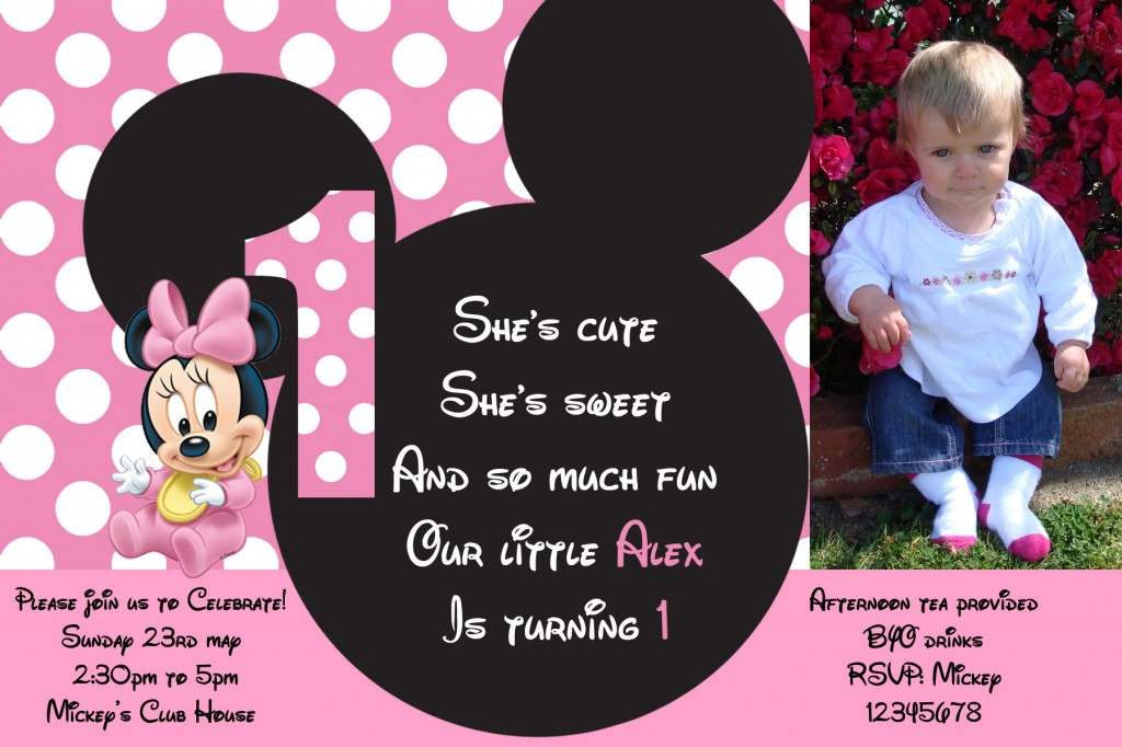 Minnie Mouse photo invitation - Sweetheart Party Extras