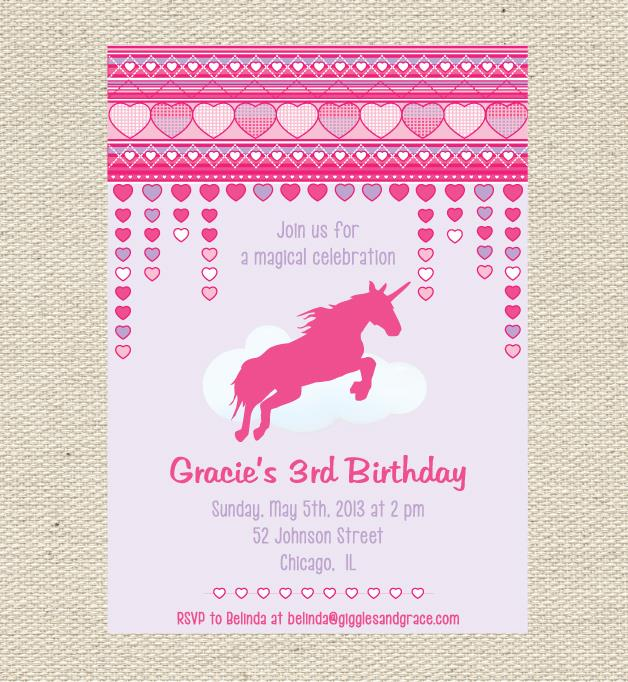 Unicorn party invitation - Giggles and Grace Designs