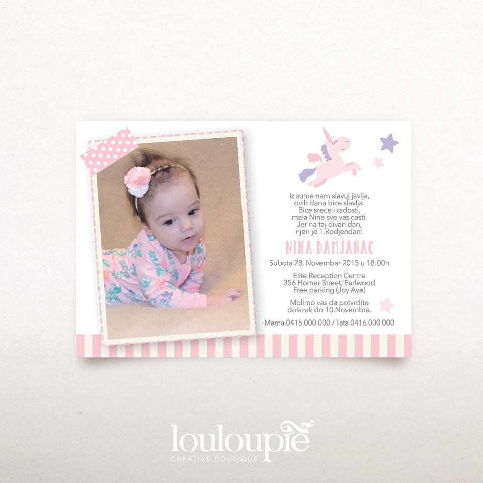 Unicorn party invitation - Lou Lou Pie Creative