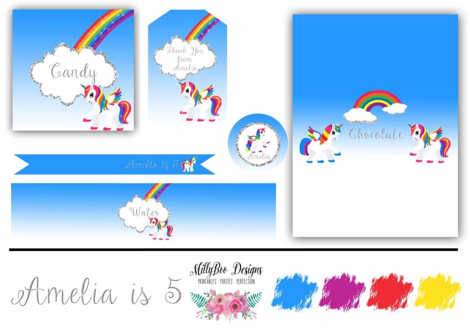 Unicorn party invitation and printables - Millyboo Designs