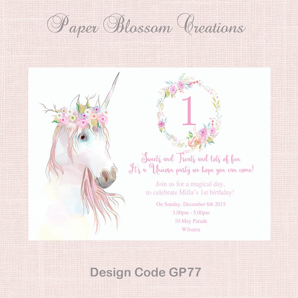 Unicorn party invitation - Paper Blossom Creations