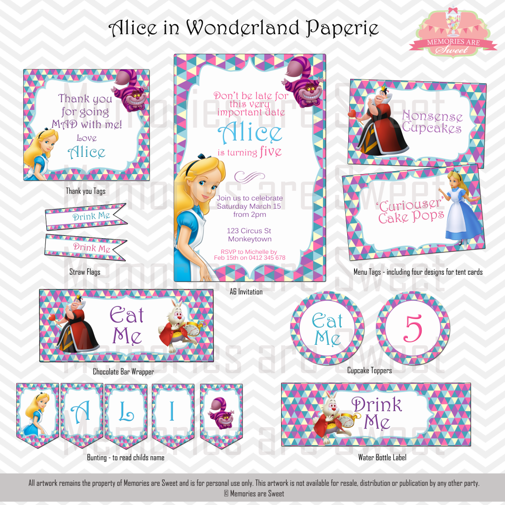 Alice in Wonderland - Party supplies shopping guide - Lifes Little ...