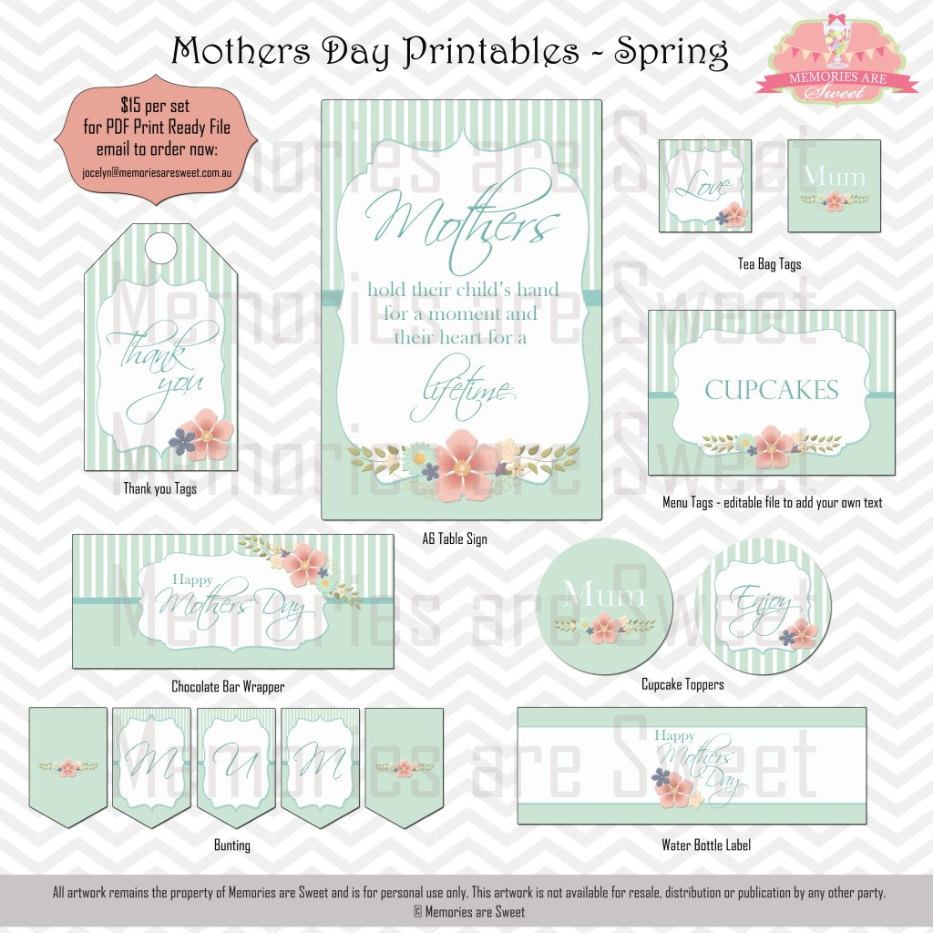 Memories are Sweet - Mothers Day Printables - Spring