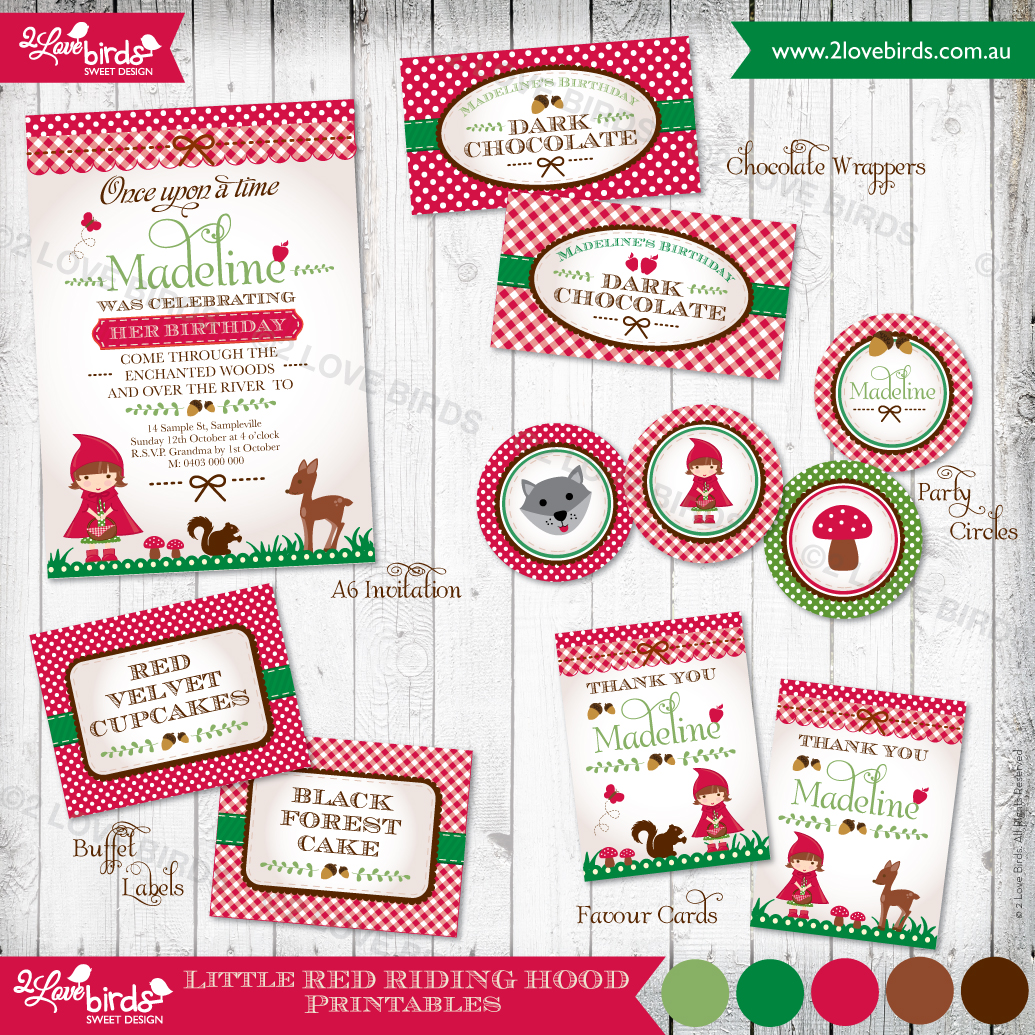 Little Red Riding Hood printables - 2 Love Birds