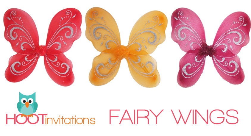 5 fairy wings (your choice of colours - Hoot Invitations