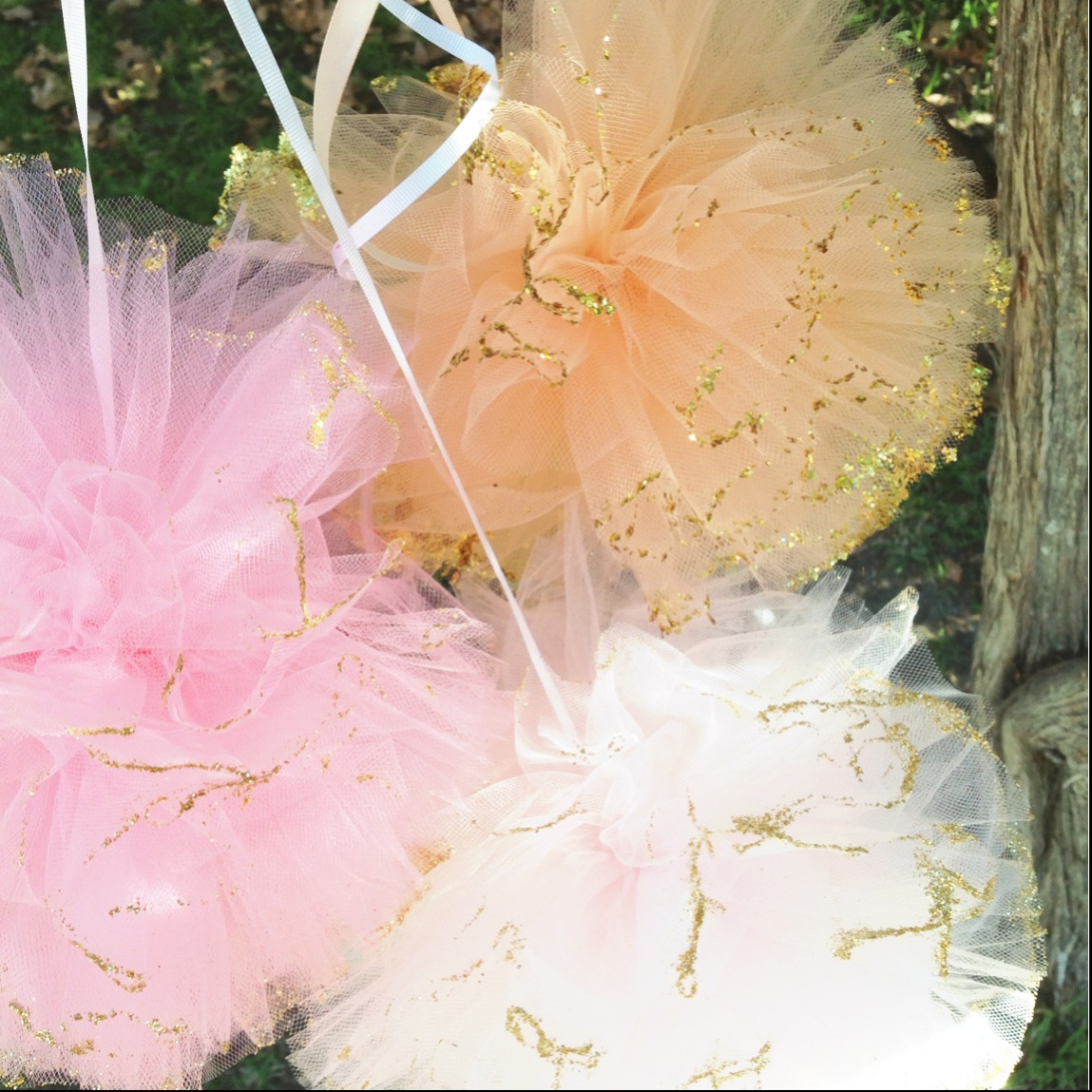 Pair of medium pink or peach tulle poms with glitter - Pom Pom Princess