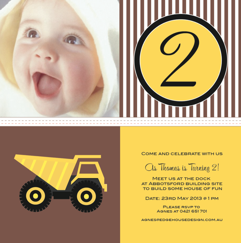 Construction party printable invitation - Edgehouse Design