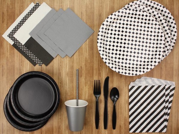 Black and white party tableware kit - The Kit Source