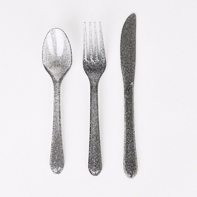 Silver glitter cutlery - Ruby Rabbit Partyware