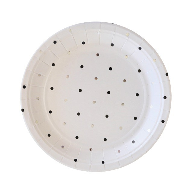 Silver and Black spots plate - Illume Partyware