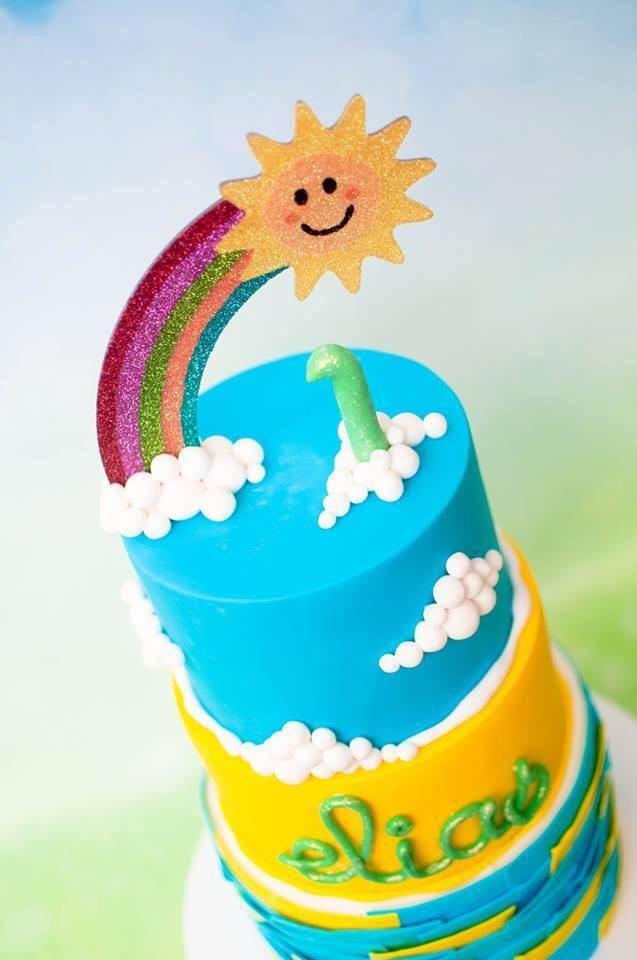 Rainbow and sunshine cake topper - Glistening Occasions (Cake by It's a Cake Thing)
