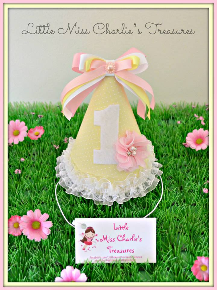 Pink and yellow custom party hat - Little Miss Charlie's Treasures