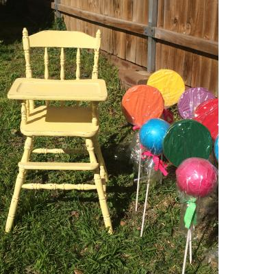 Yellow high chair for hire - Tiny Tots Toy Hire (Sydney)