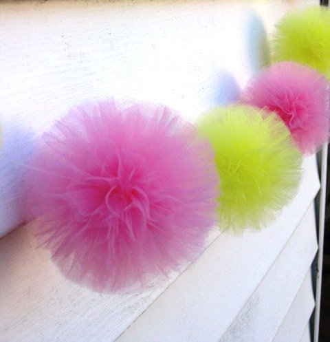 Lemon and pink tulle pom pom garland - Pom Pom Princess