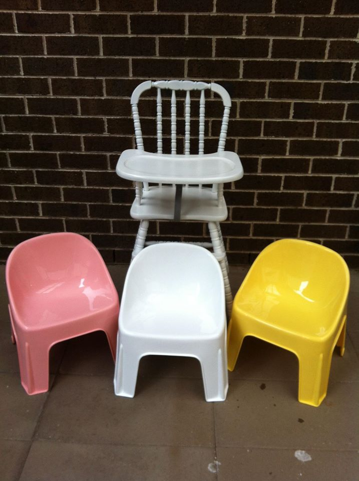Pink and yellow bubble chairs and high chair for hire - Tiny Tables and Chairs (Melbourne)