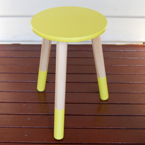 Little yellow wooden stools for hire - Little Giggles Party Hire (Melbourne)