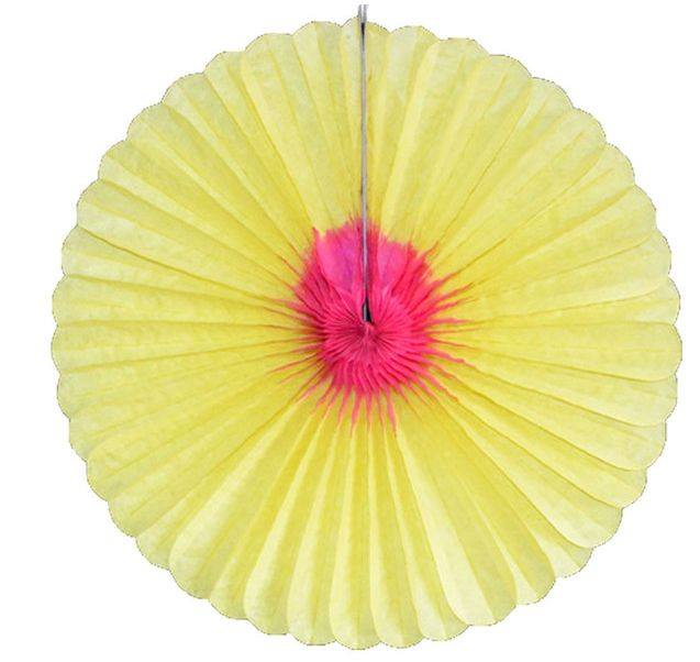 Yellow and pink paper fan - Fantasy Kids Parties