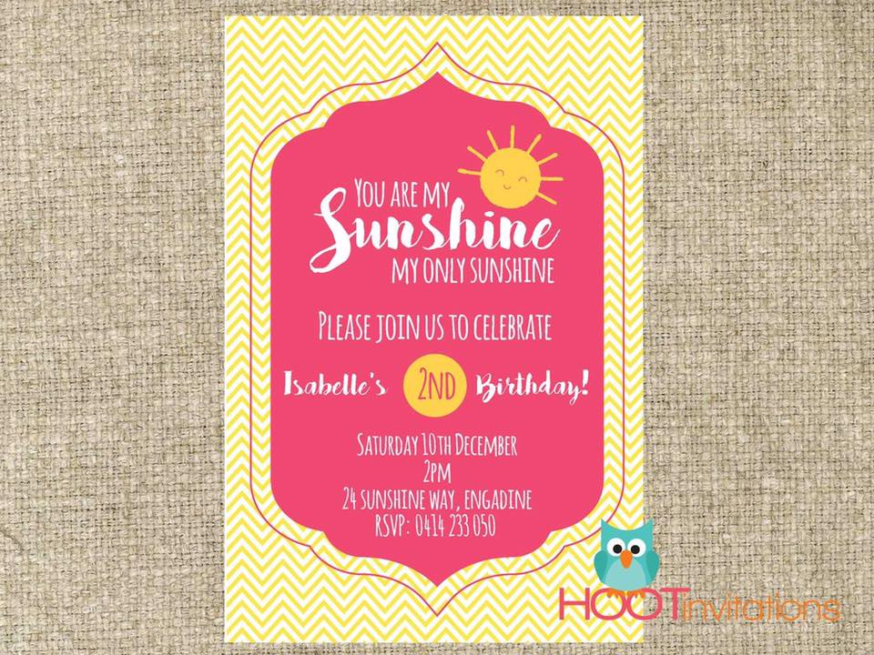 You are my sunshine - Hoot Invitations