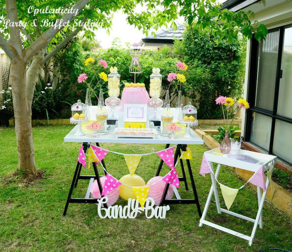 Pink and yellow dessert table - Opulenticity Party & Buffet Styling