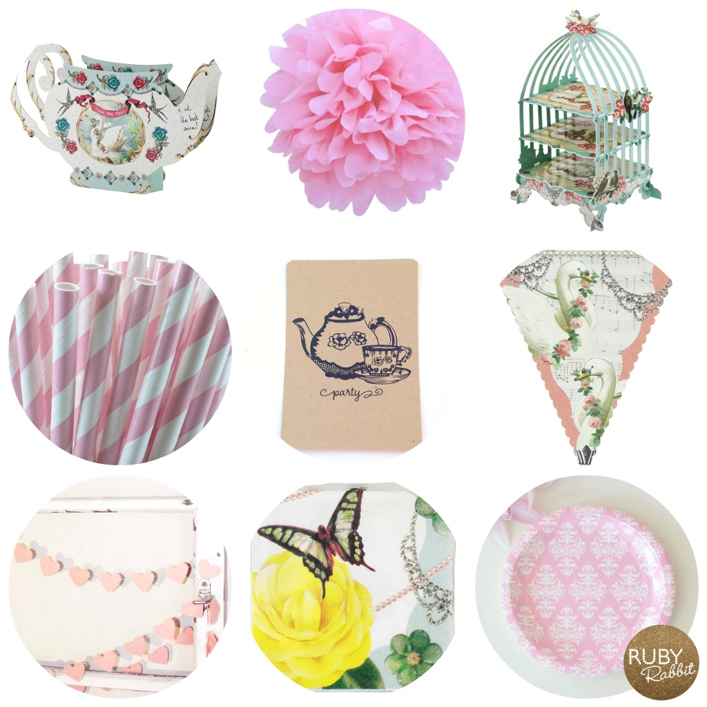 Vintage tea party supplies - Ruby Rabbit partyware