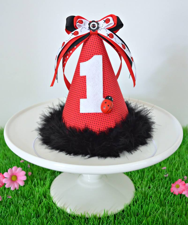 Ladybug party hat - Little Miss Charlie's Treasures