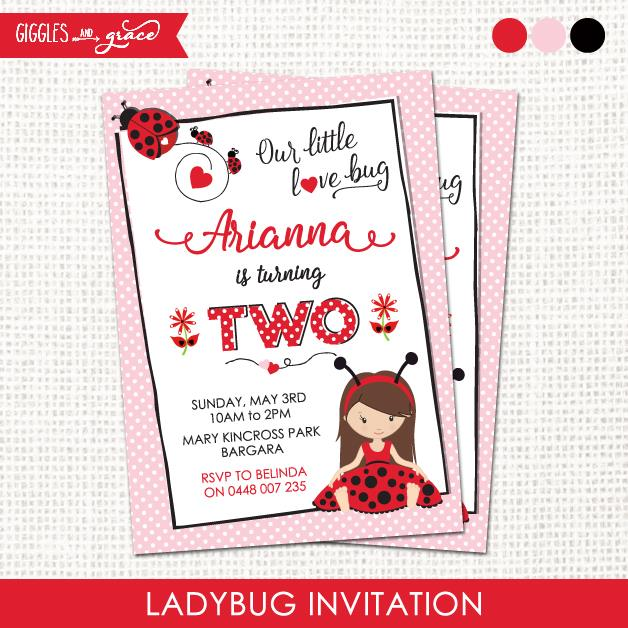 Ladybug Invitation - Giggles and Grace Designs