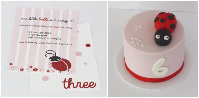 Ladybug Invitation and Cake - Deliciously Yours