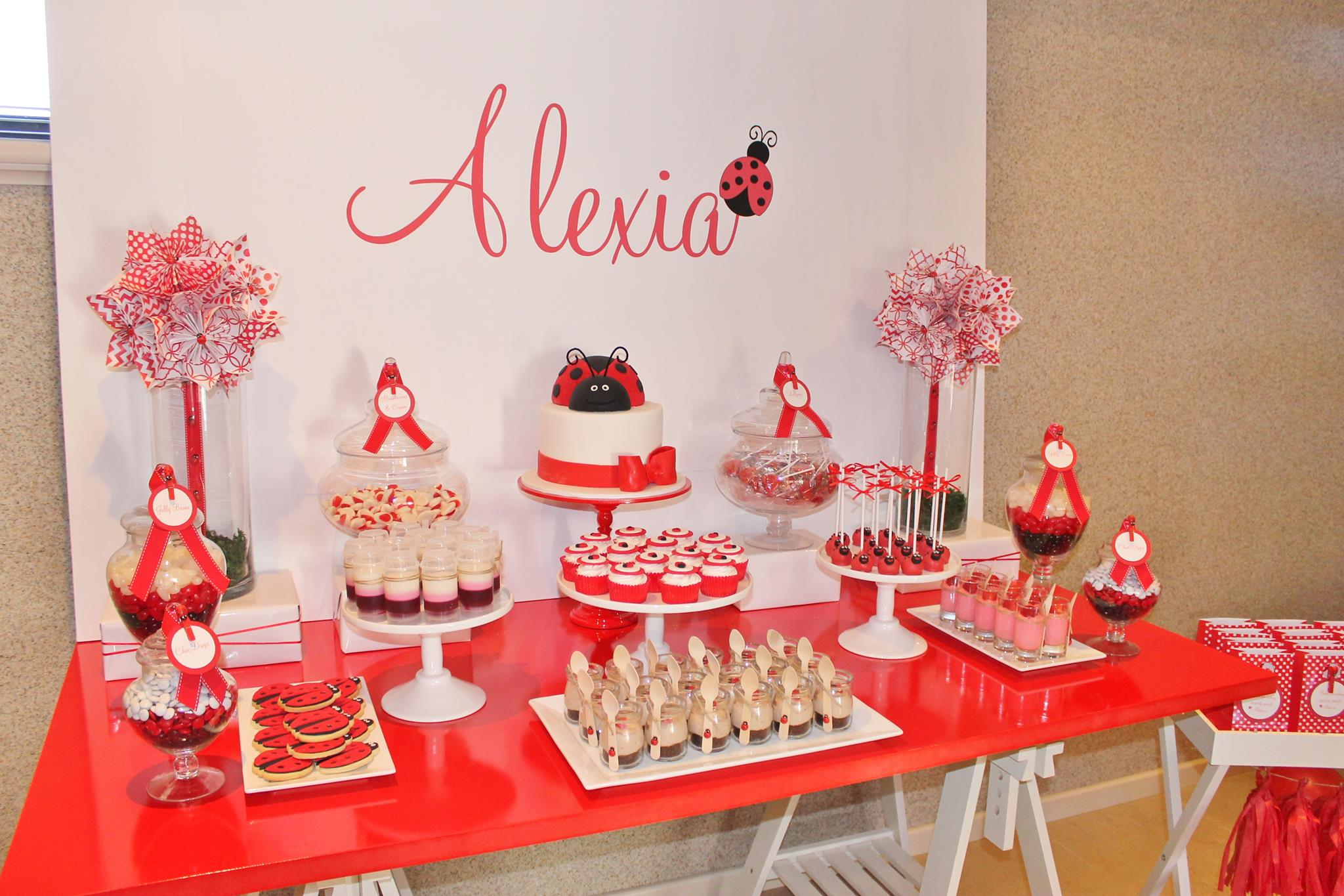 Ladybug party setup and desserts - The Sweet Cart (WA)