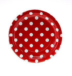 Red polka dot plates - Ruby Rabbit Partyware