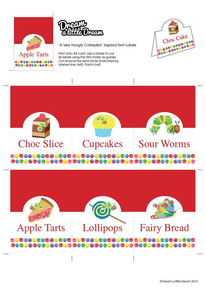 Hungry Little Caterpillar buffet labels - Dream a little Dream parties