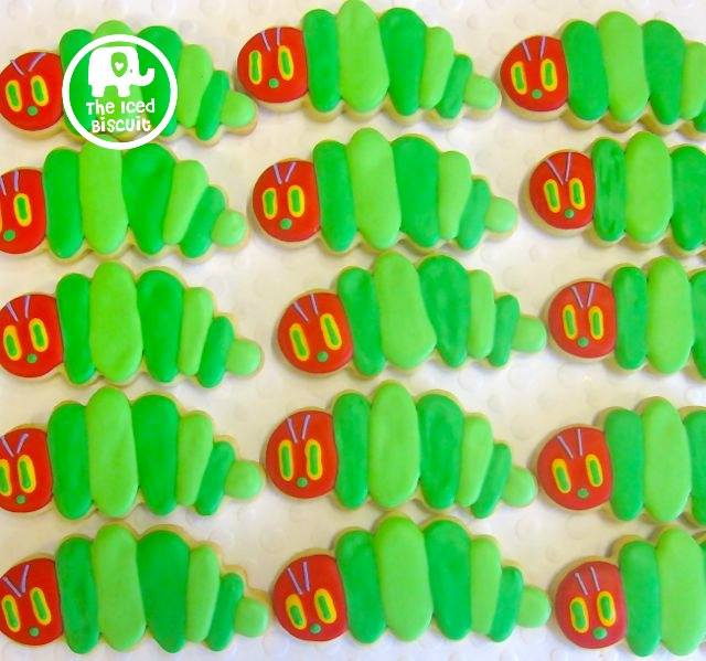 Hungry caterpillar cookies - The Iced Biscuit (posts Aust wide)