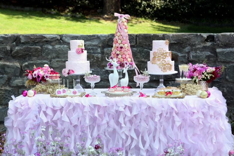 White ruffled tablecloth - Wild Rose Sweets and Styling