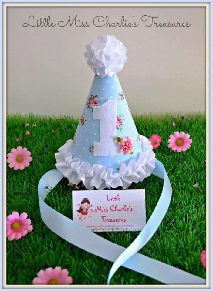 Floral custom party hat - Little Miss Charlie's Treasures