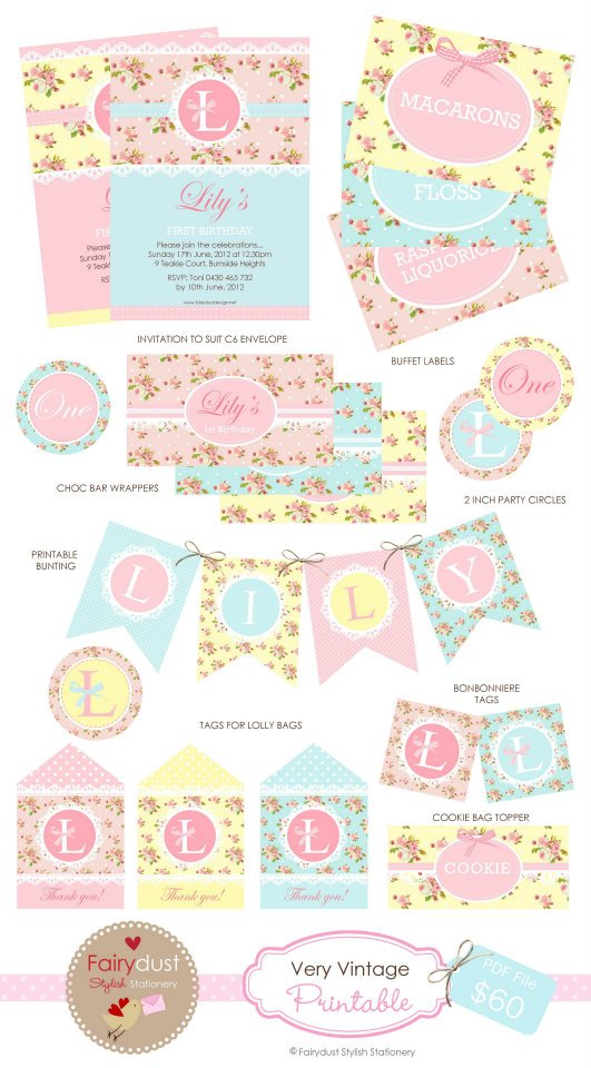 Vintage floral party printables - Fairydust Stylish Stationery