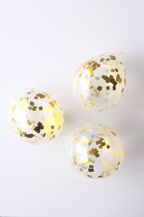 Gold confetti mini balloons - Butterfly Kisses Celebrations