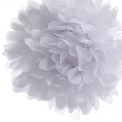 White tissue pom pom - Ruby Rabbit Partyware