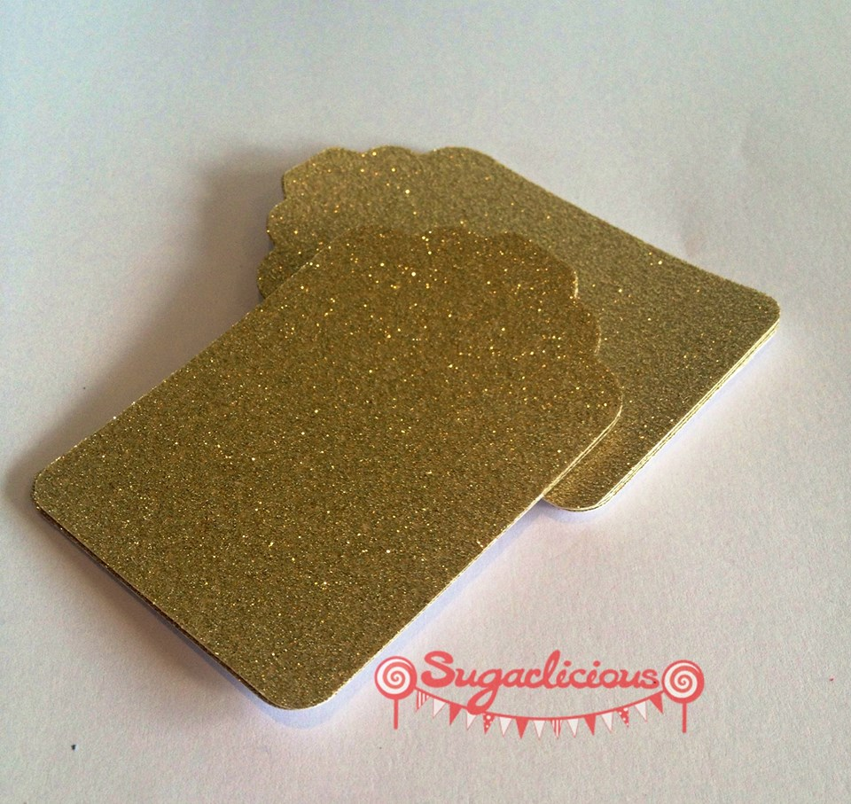 Gold glitter tags - Sugarlicious Parties