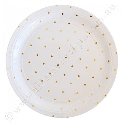 White and gold spot plates - Ruby Rabbit Partyware