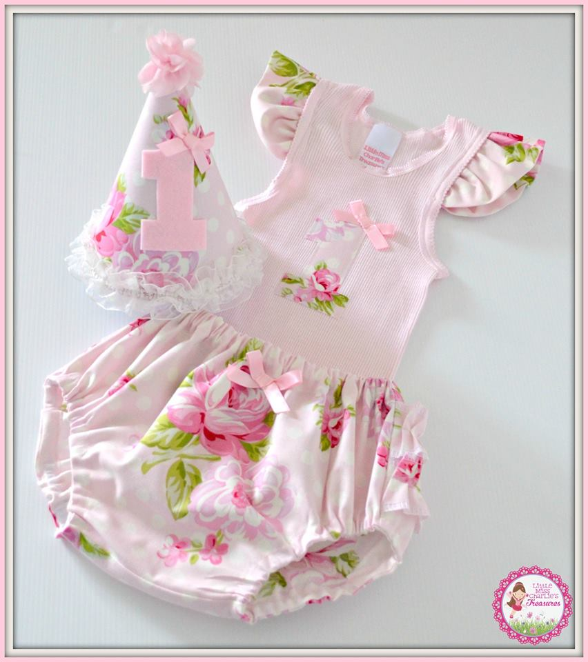 Floral party birthday girl outfit - Little Miss Charlie's Treasures