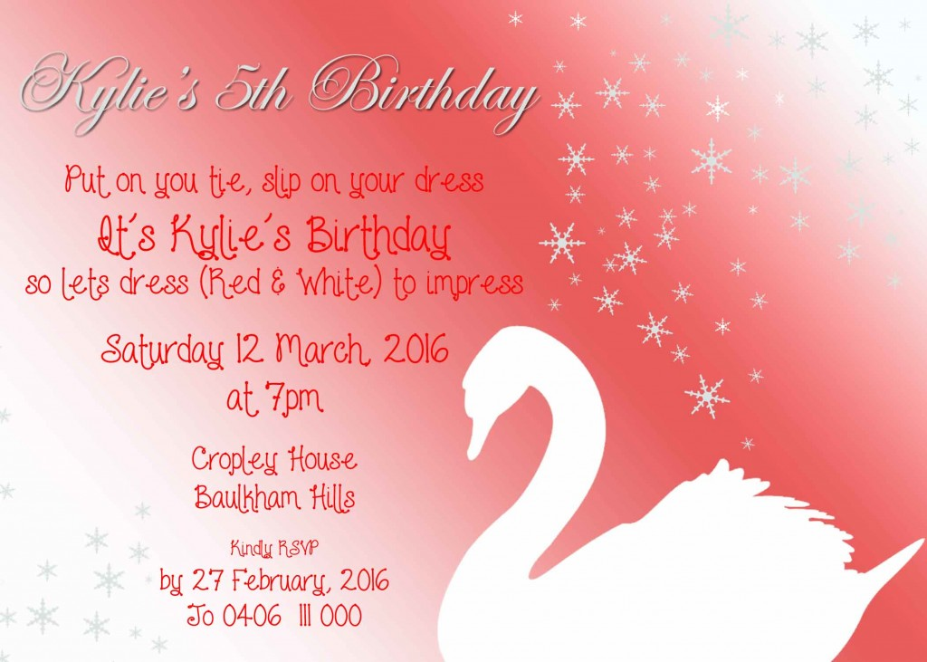 Swan invitation - Jo's Signs by Design
