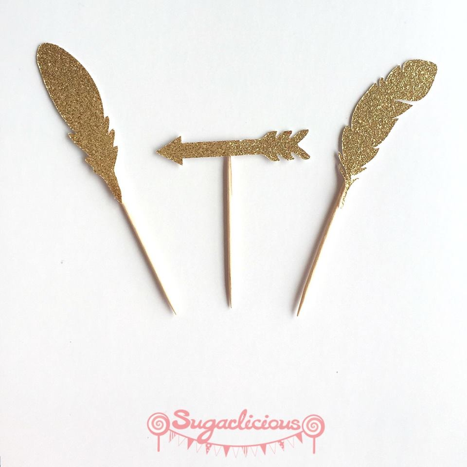 Glitter feather cupcake toppers - Sugarlicious Parties