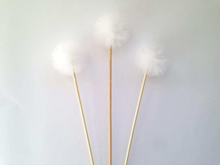 White pom pom cake topper set - Love the Occasion