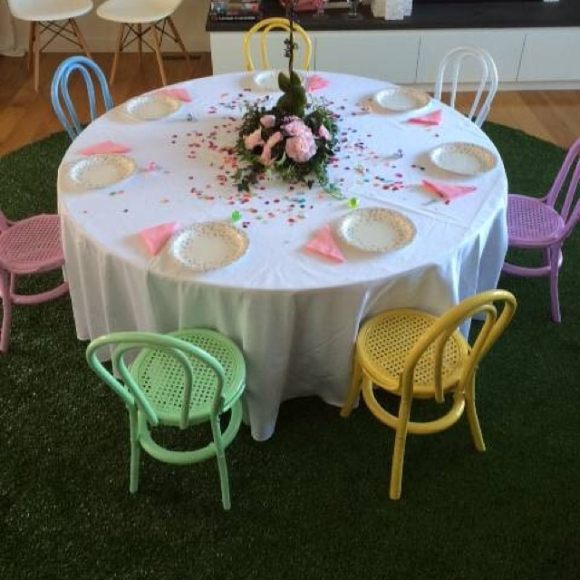 Round table and kids bentwood chairs for hire - Mini Party People (Melb, Syd)